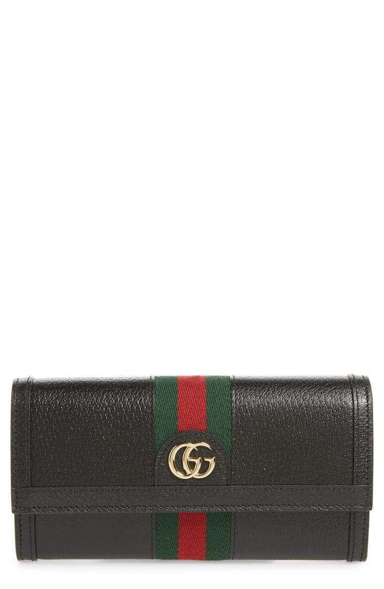 GUCCI Ophidia Leather Continental Wallet, Main, color, 001