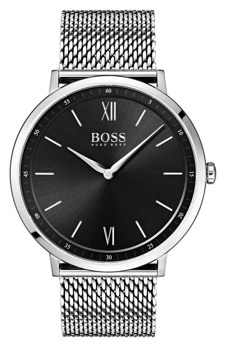 BOSS Essential Ultra Slim Bracelet Watch, 40mm, Main, color, 001