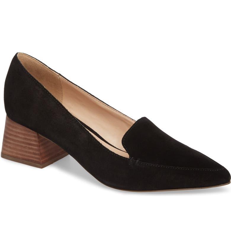 SOLE SOCIETY Mavis Flare Heel Loafer, Main, color, 001