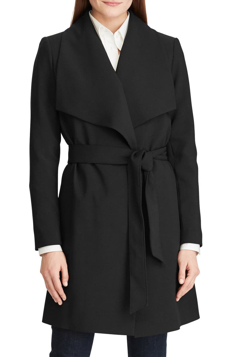 LAUREN RALPH LAUREN Crepe Wrap Coat, Main, color, BLACK