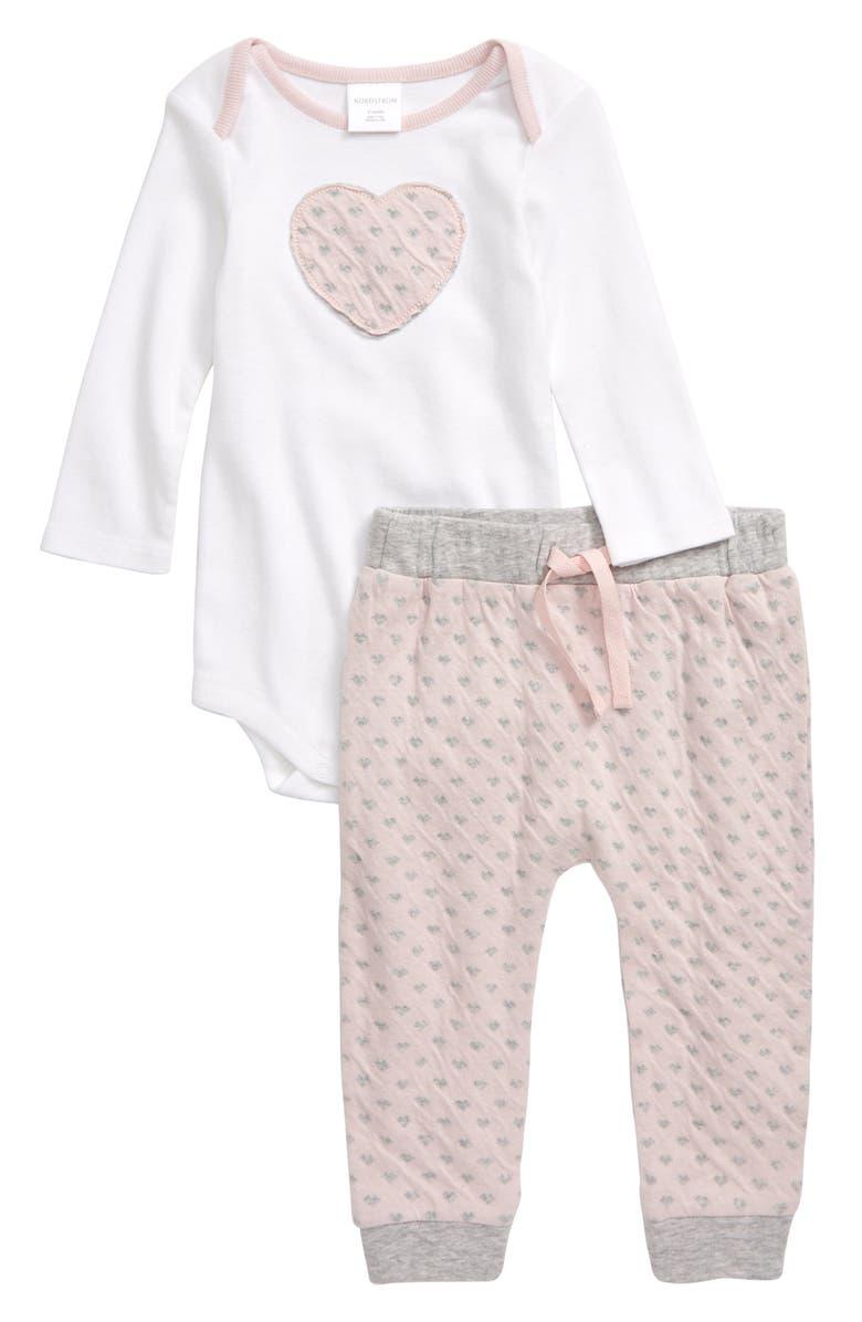 NORDSTROM BABY Appliqué Bodysuit & Pants Set, Main, color, WHITE- PINK HEART