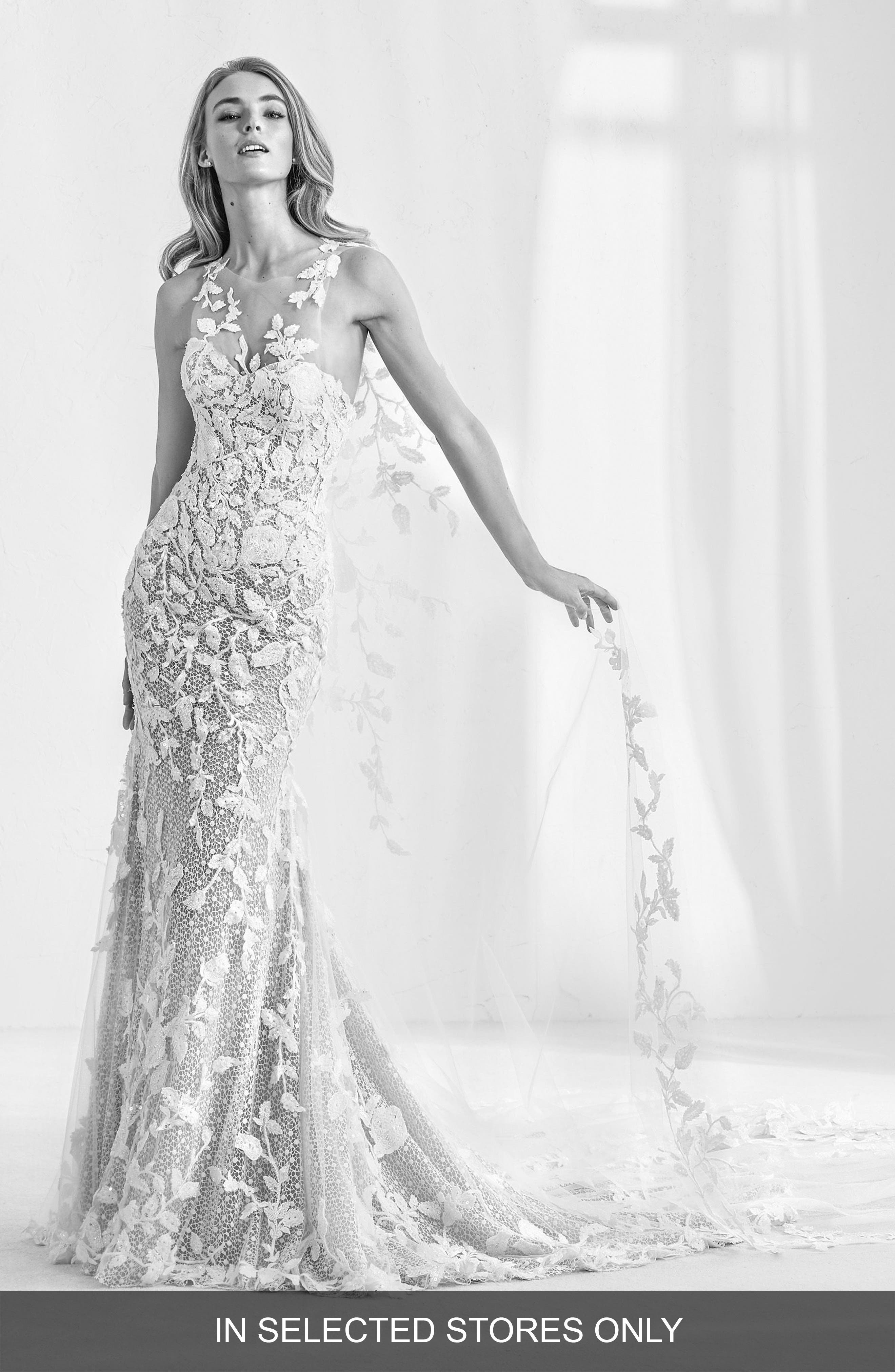 Atelier Pronovias Ramses Illusion Lace Mermaid Gown With Cape, Size IN STORE ONLY - Ivory