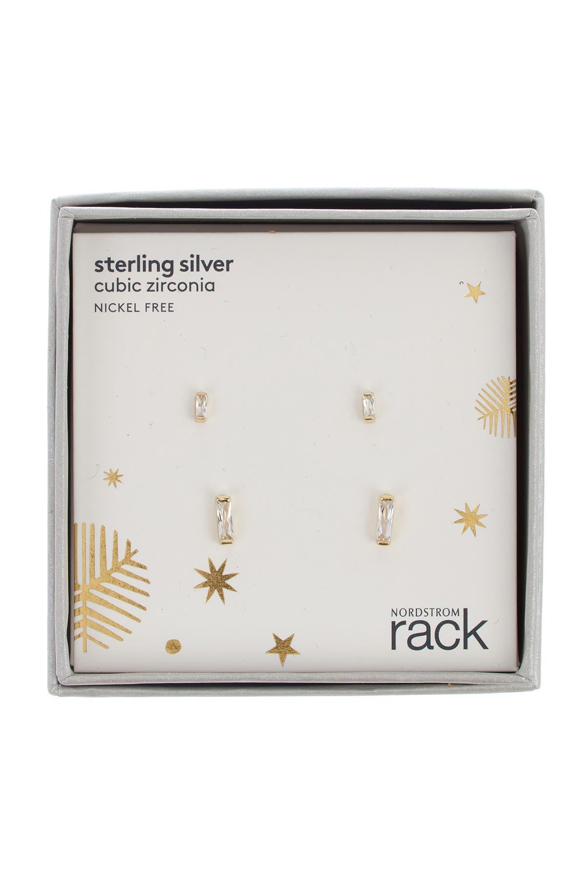 Image of Nordstrom Rack CZ Baguette Stud Earrings - Set of 2