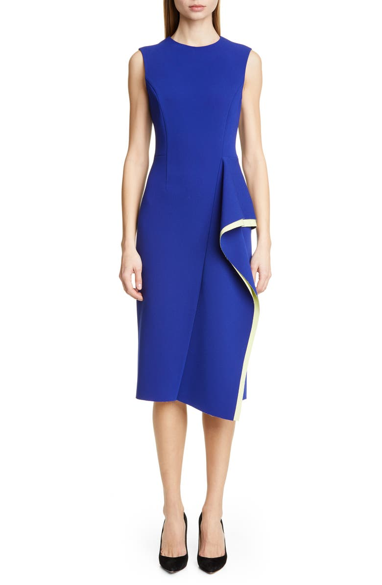 JASON WU COLLECTION Cascade Compact Crepe Day Dress, Main, color, ULTRAVIOLET/ YELLOW