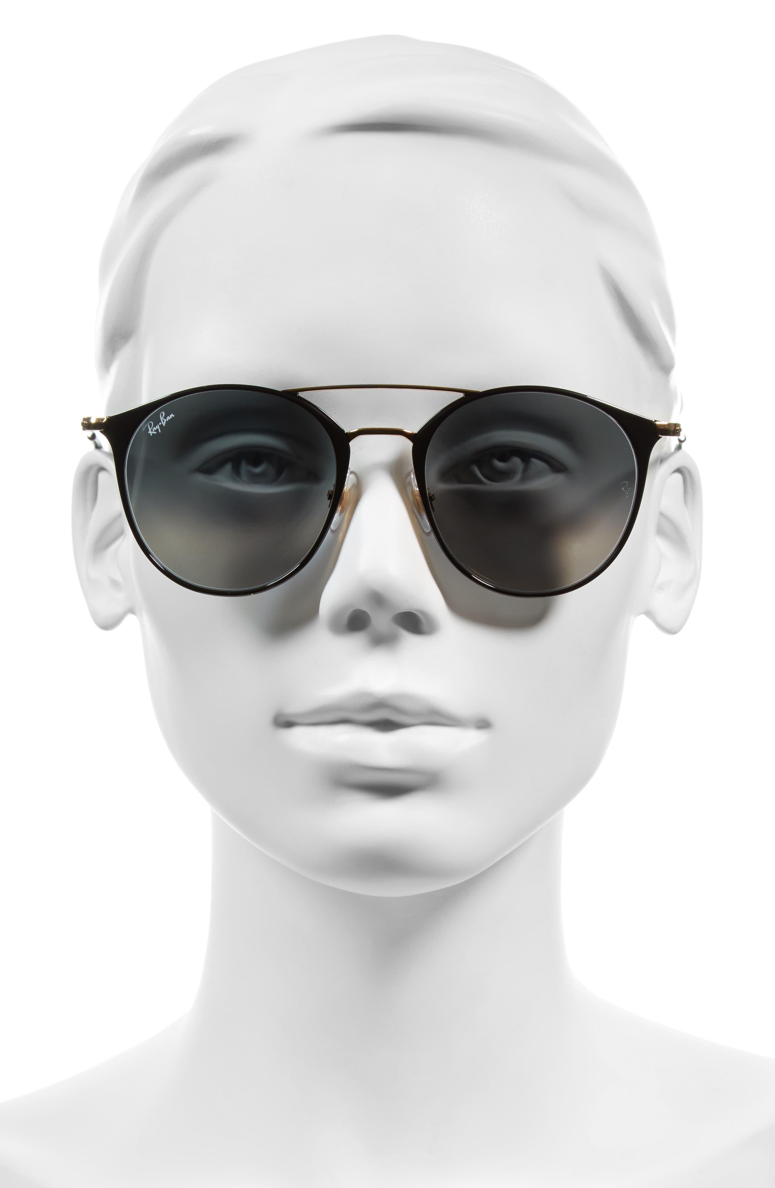 ,                             Highstreet 52mm Round Brow Bar Sunglasses,                             Alternate thumbnail 2, color,                             BLACK/ GOLD/ GREY