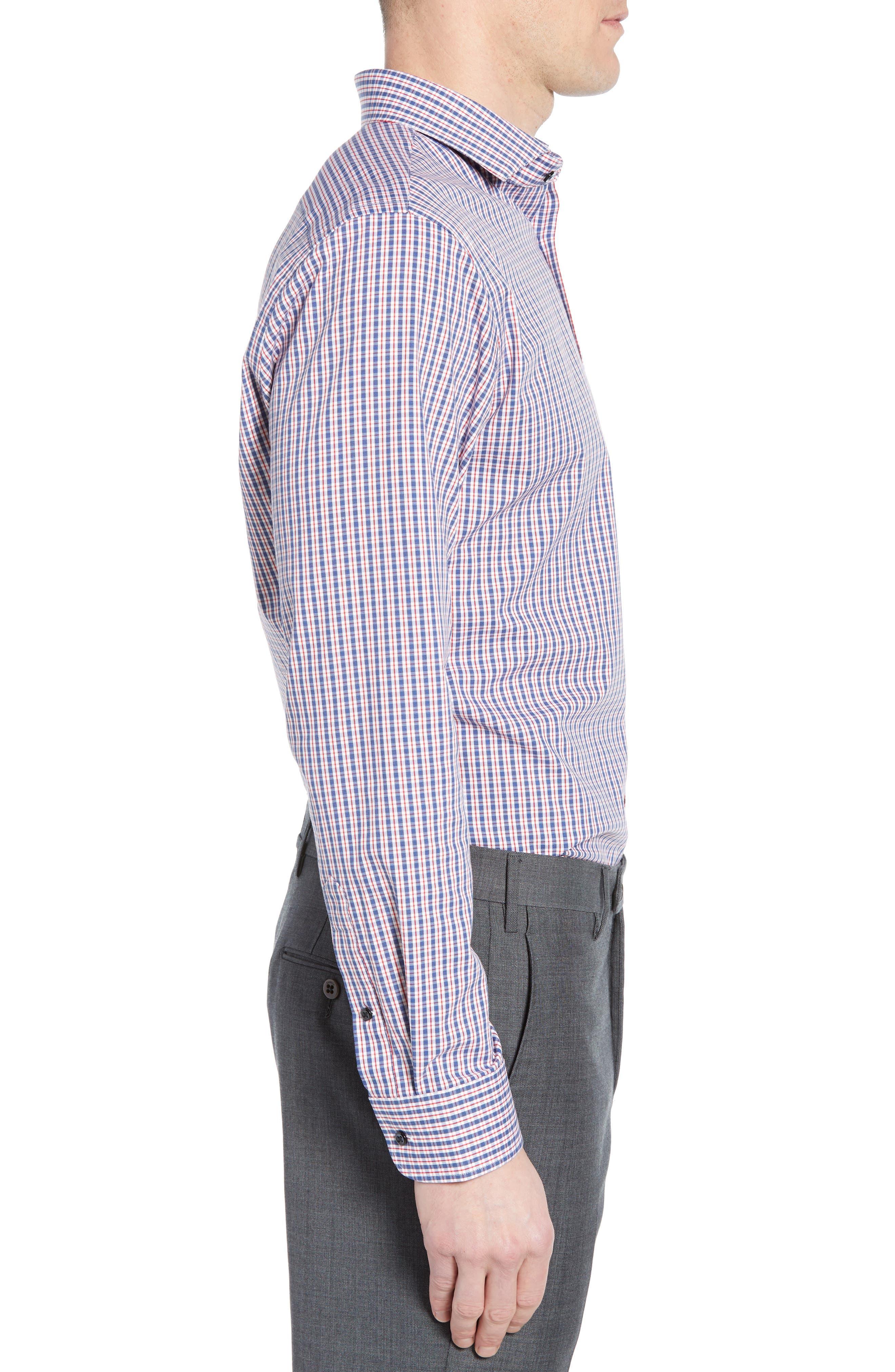 ,                             Tech-Smart Trim Fit Stretch Check Dress Shirt,                             Alternate thumbnail 4, color,                             RED RIBBON