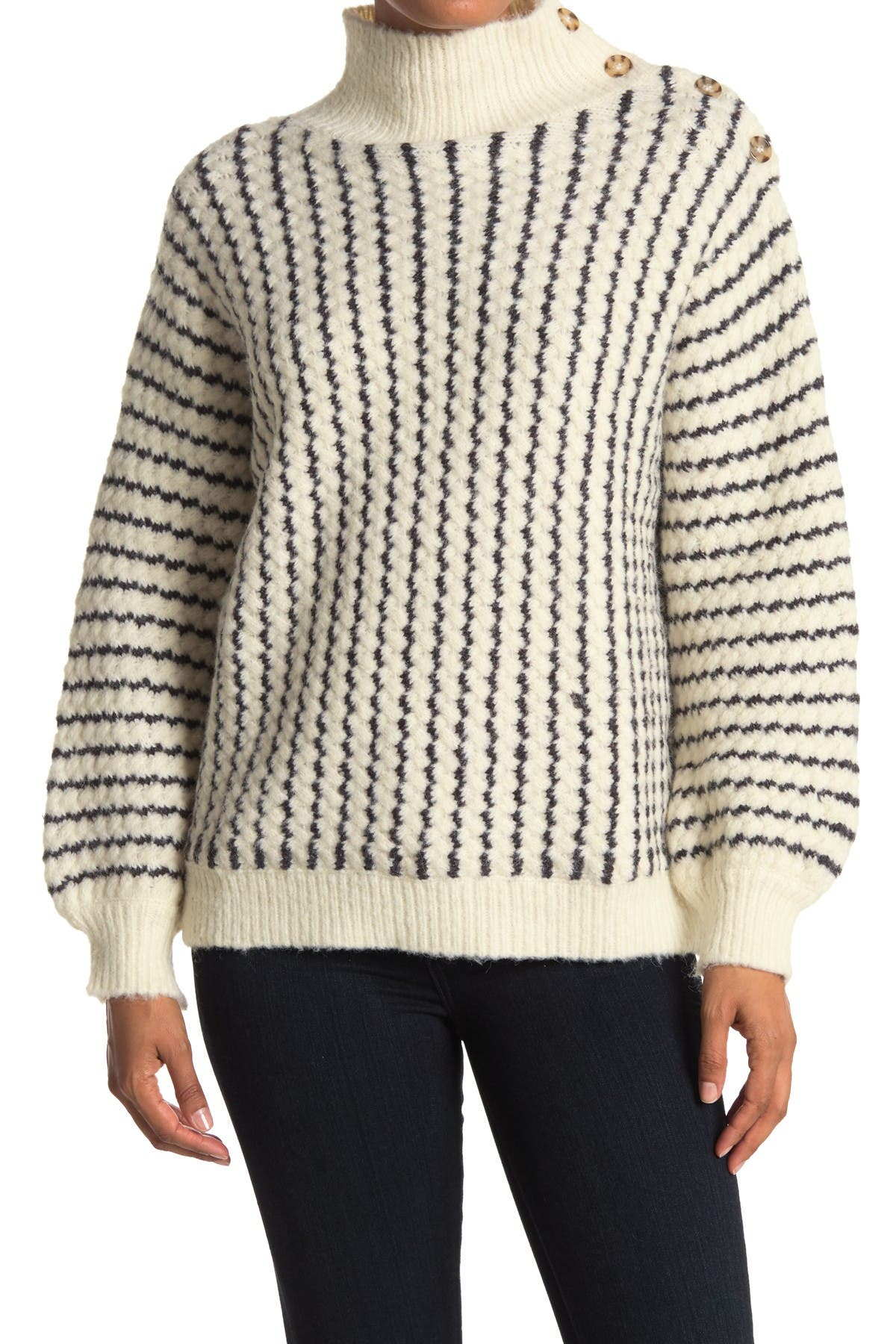 Image of FRNCH Stripe Button Detail Knit Sweater