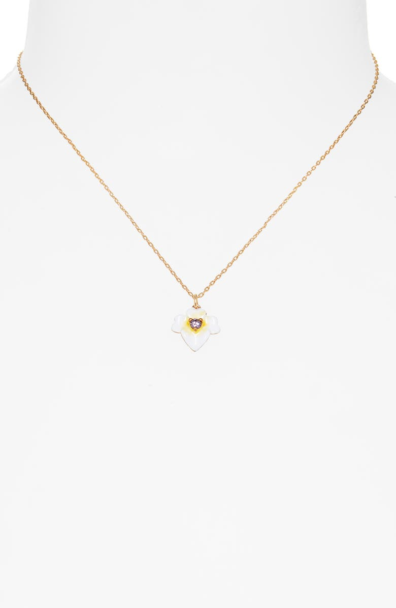 KATE SPADE NEW YORK enamel pansy pendant necklace, Main, color, YELLOW MULTI