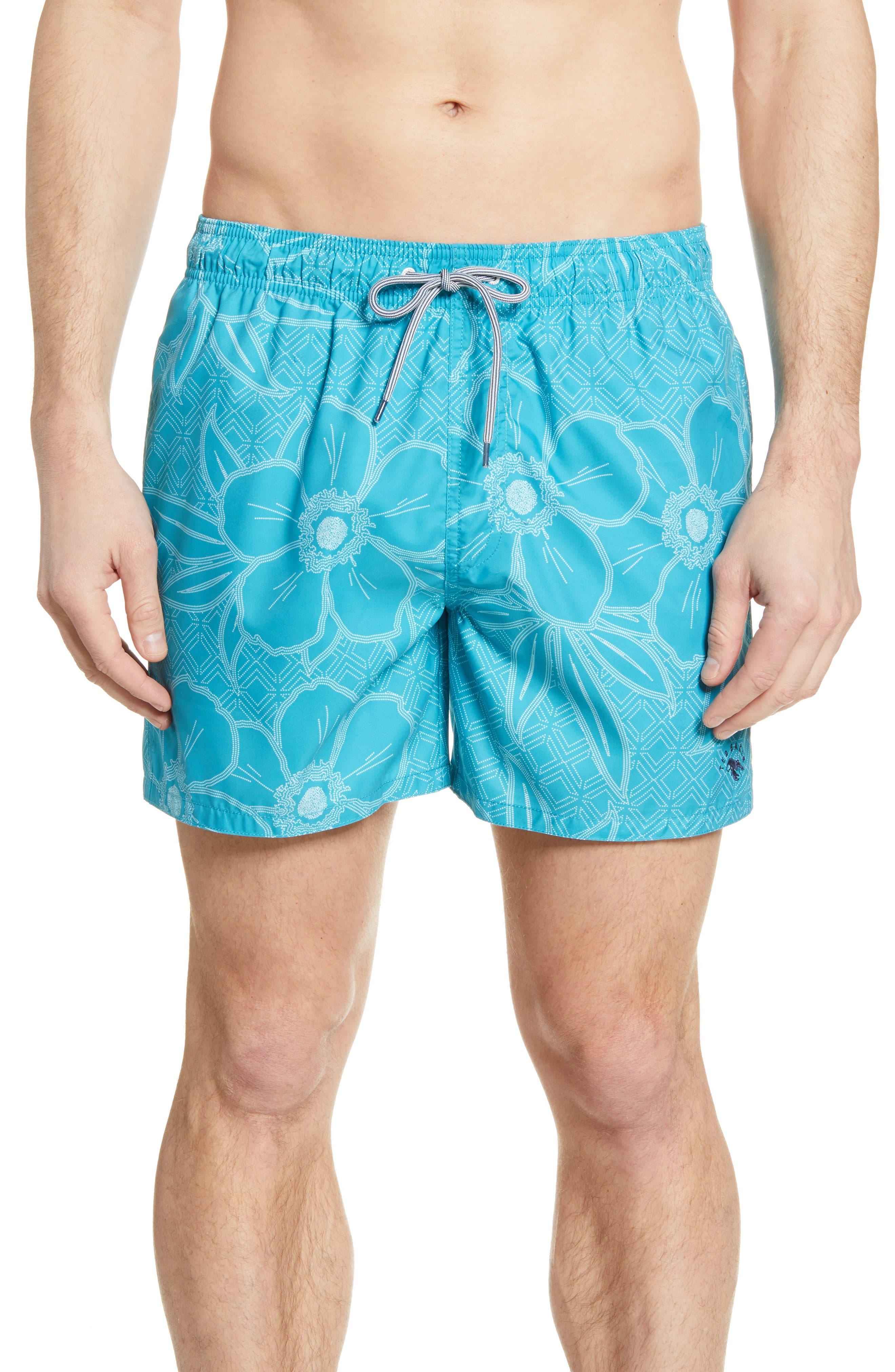 A stippled tropical print brings a vacay feeling to these drawstring-waist swim shorts that are ready for warm weather. Style Name: Ted Baker London Short Swim Trunks. Style Number: 6036954. Available in stores.