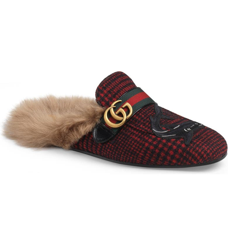 GUCCI Princetown Double G Loafer Mule with Genuine Shearling, Main, color, 618