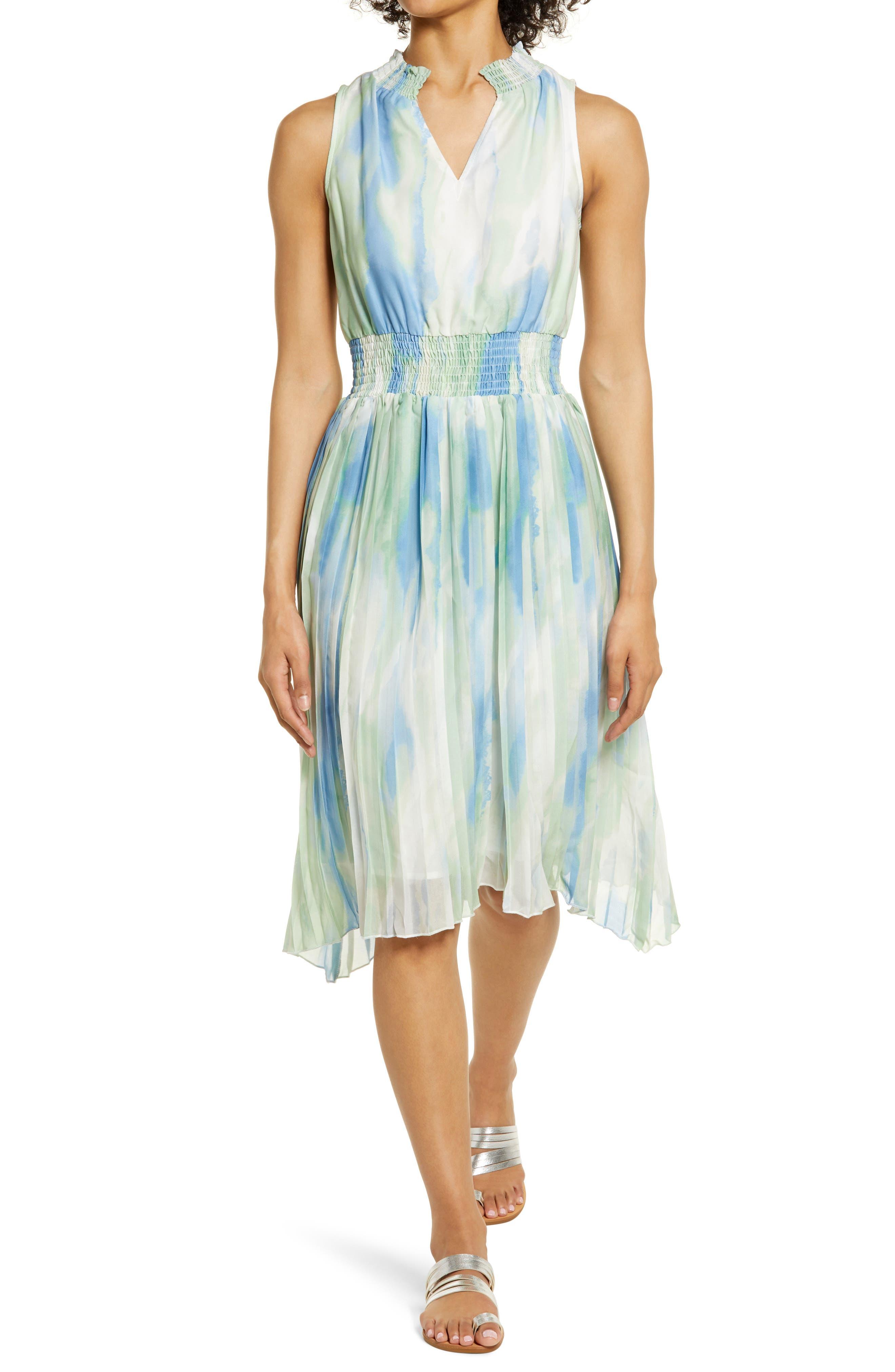 Tie Dye Pleated Chiffon Dress