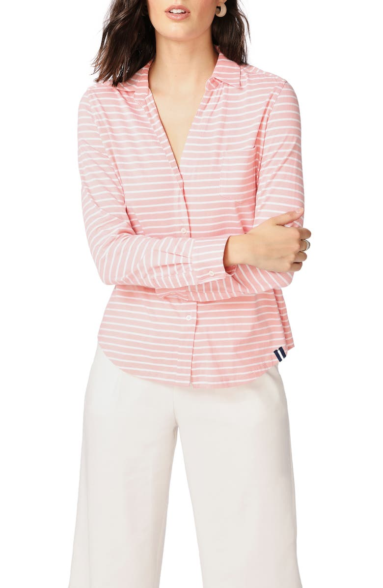 COURT & ROWE Classic Stripe Cotton Button-Up Blouse, Main, color, CHEEKY PEACH