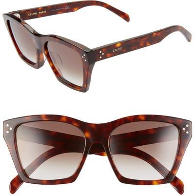 Celine Adjusted Fit 5m Cat Eye Sunglasses - Dark Havana/ Gradient Brown