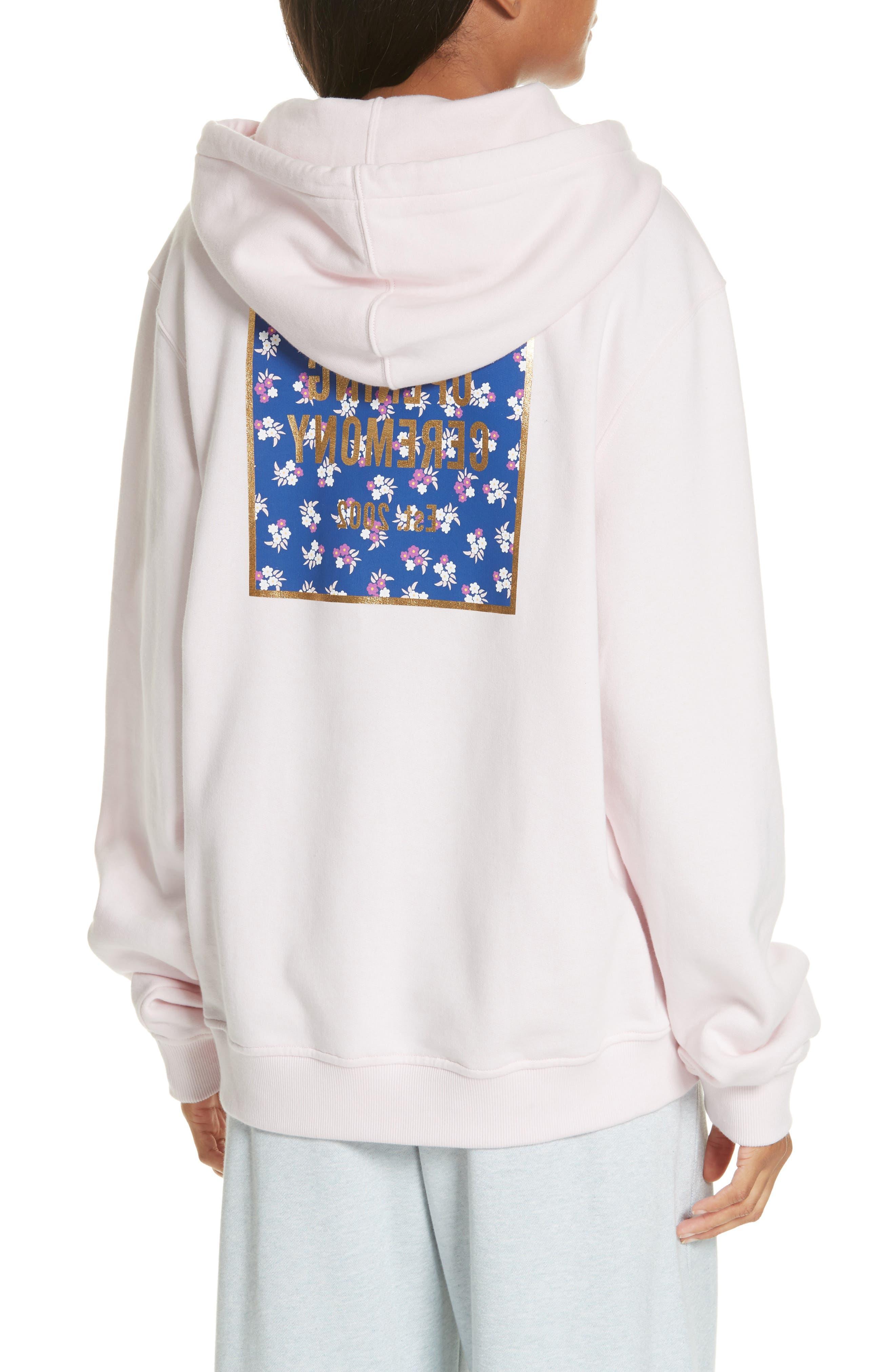 ,                             Floral Box Logo Hoodie,                             Alternate thumbnail 2, color,                             PINK SALT