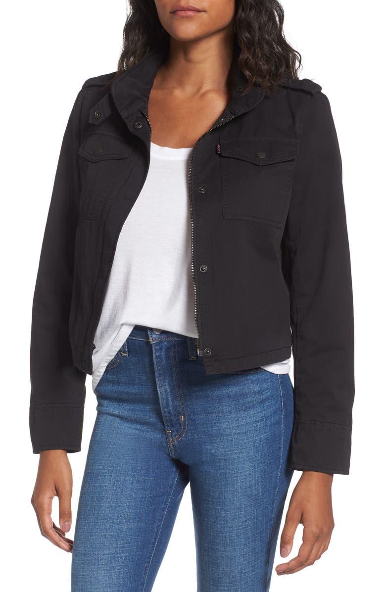 LEVI'S<SUP>®</SUP> Crop Military Jacket, Main, color, 001