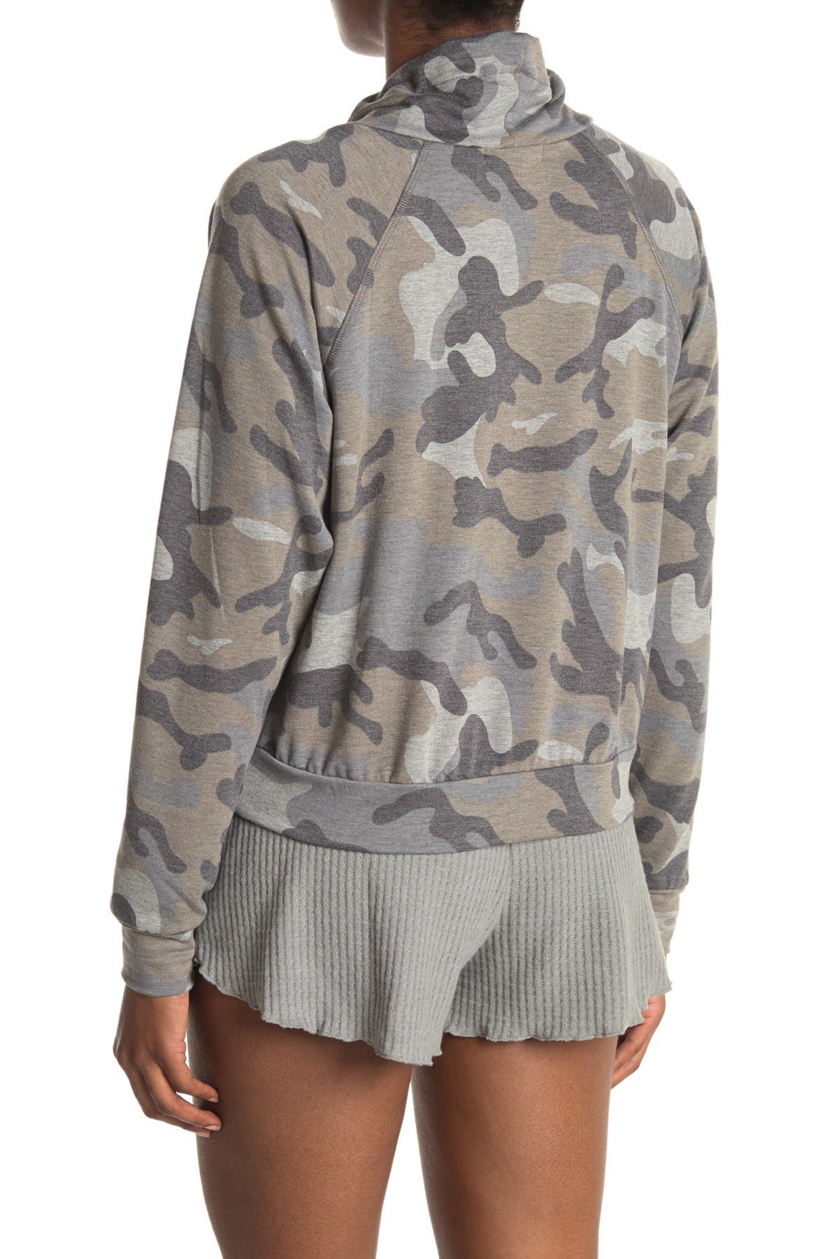Image of Socialite Printed Drawstring Funnel Neck Pullover