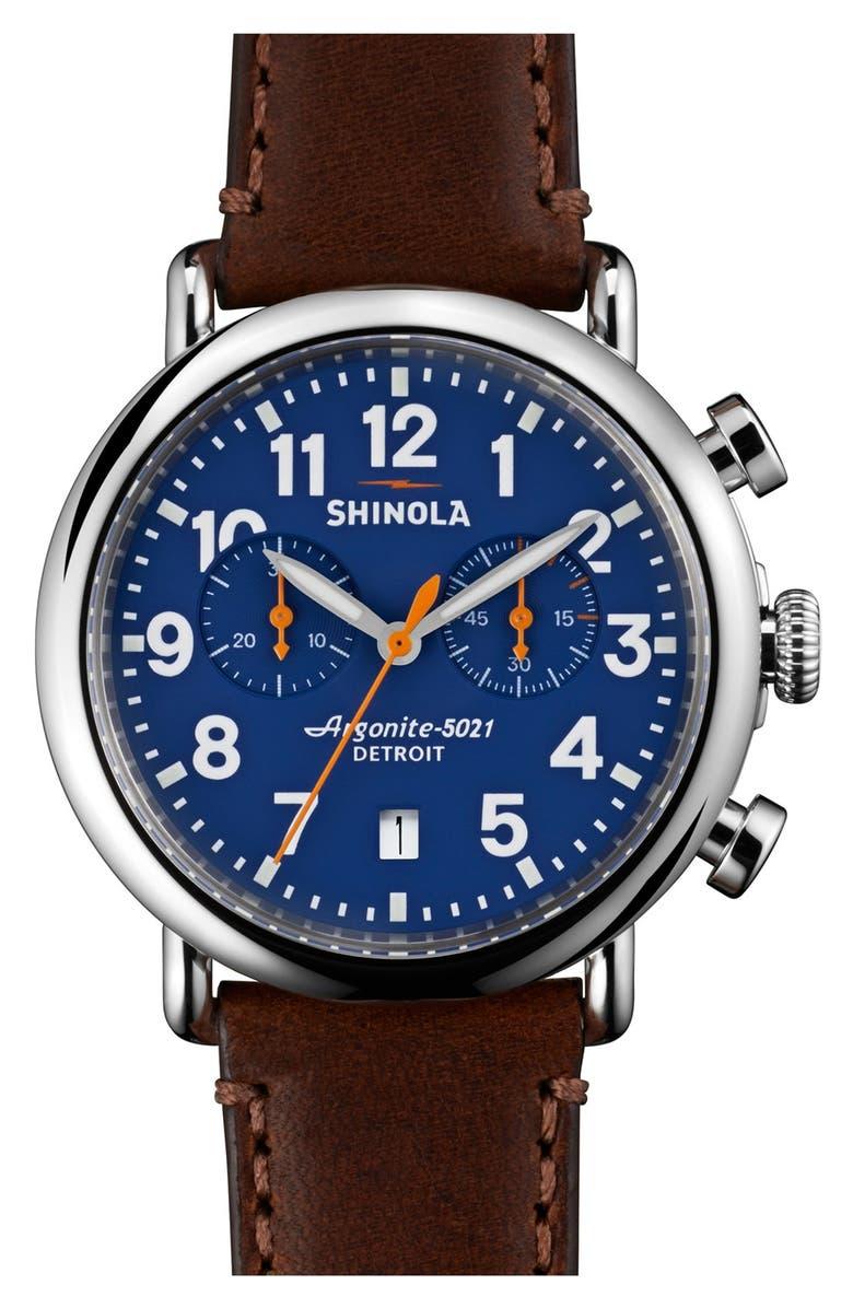 SHINOLA 'The Runwell Chrono' Leather Strap Watch, 41mm, Main, color, DARK BROWN/ BLUE/ SILVER