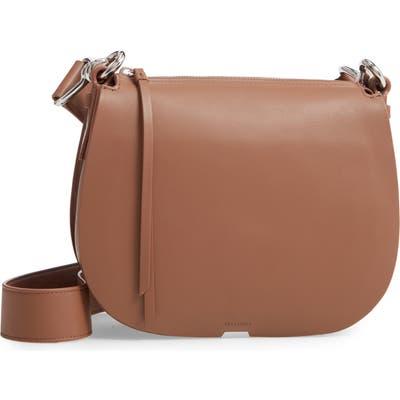 Allsaints Captain Round Leather Crossbody Bag - Brown