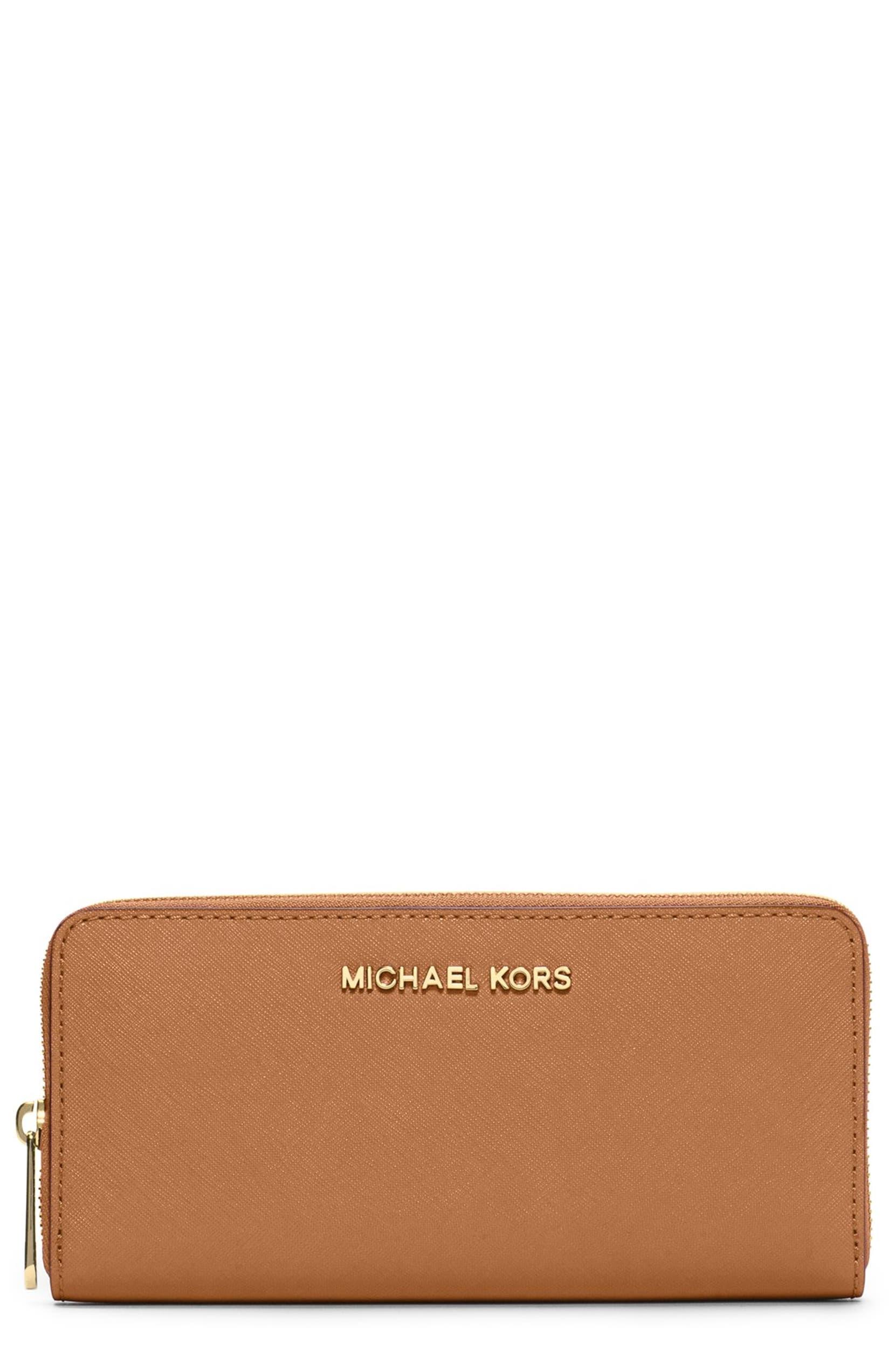 6091b805be77 MICHAEL Michael Kors 'Jet Set' Saffiano Zip Around Wallet | Nordstrom