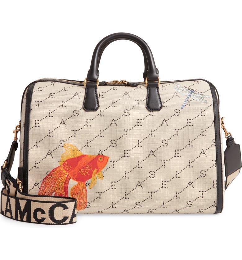 STELLA MCCARTNEY Mini Monogram Canvas Duffle Bag, Main, color, SAND