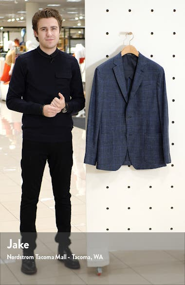 Trim Fit Plaid Wool, Silk & Linen Sport Coat, sales video thumbnail