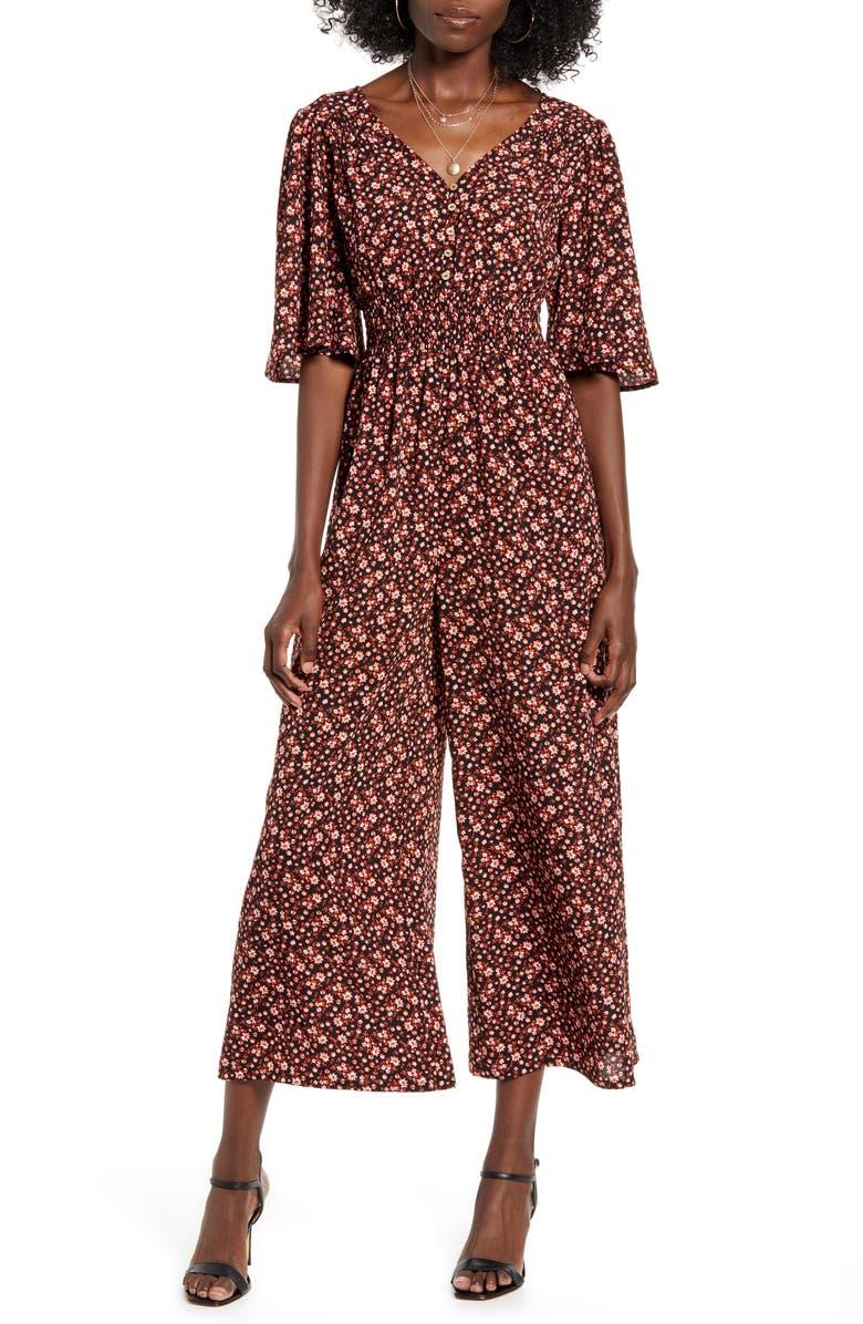 GOOD LUCK GEM Smocked Waist Wide Leg Jumpsuit, Main, color, 005