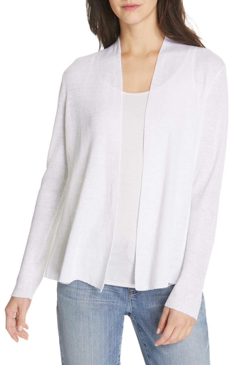 EILEEN FISHER Shaped Organic Linen Cardigan, Main, color, 100