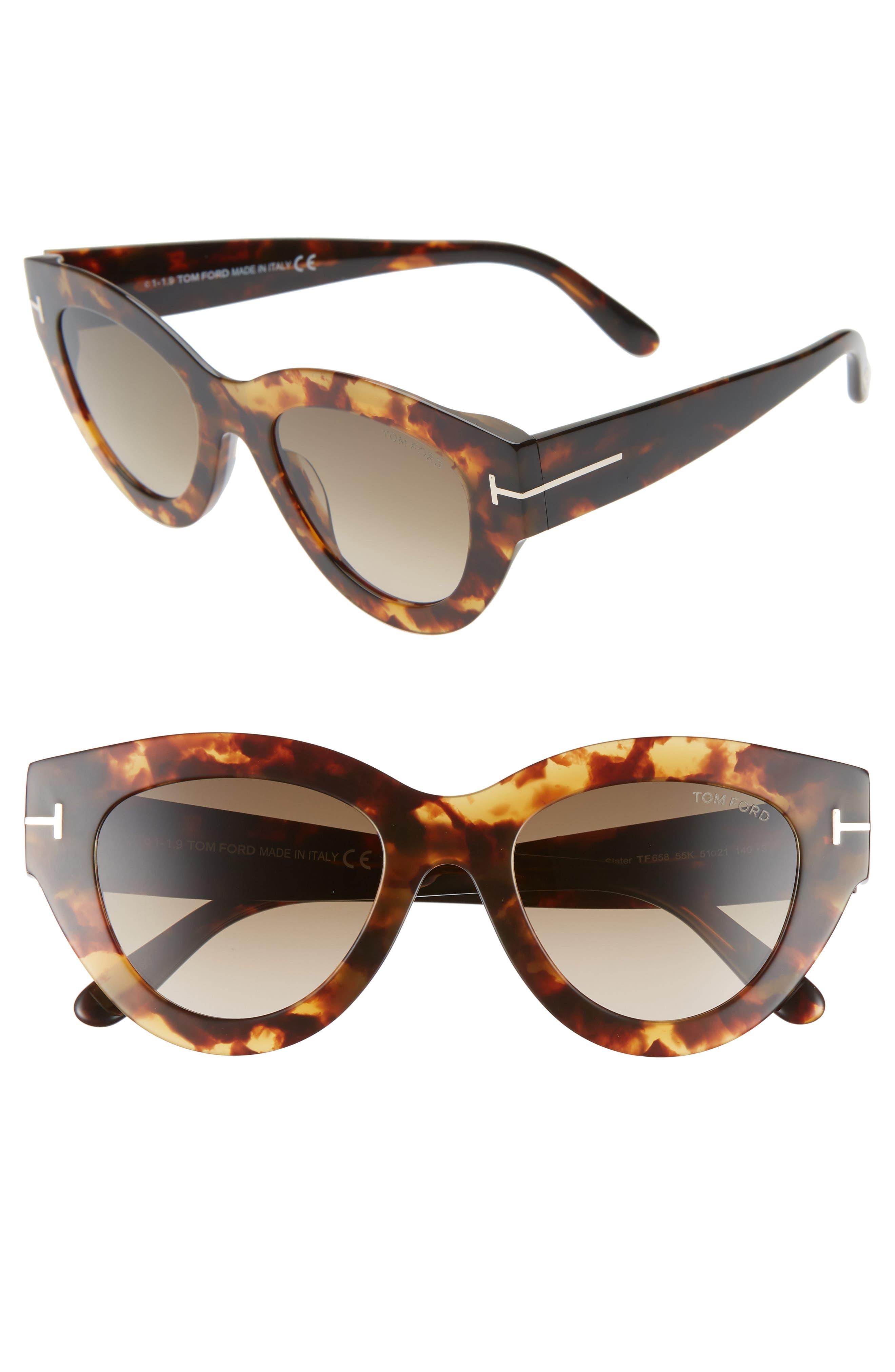 Tom Ford Slater 51Mm Cat Eye Sunglasses - Havana/ Gradient Roviex