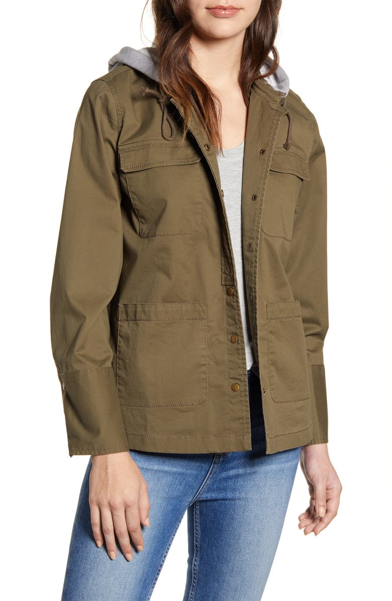 CASLON<SUP>®</SUP> Utility Jacket with Knit Hood, Main, color, OLIVE GREY LIGHT HEATHER
