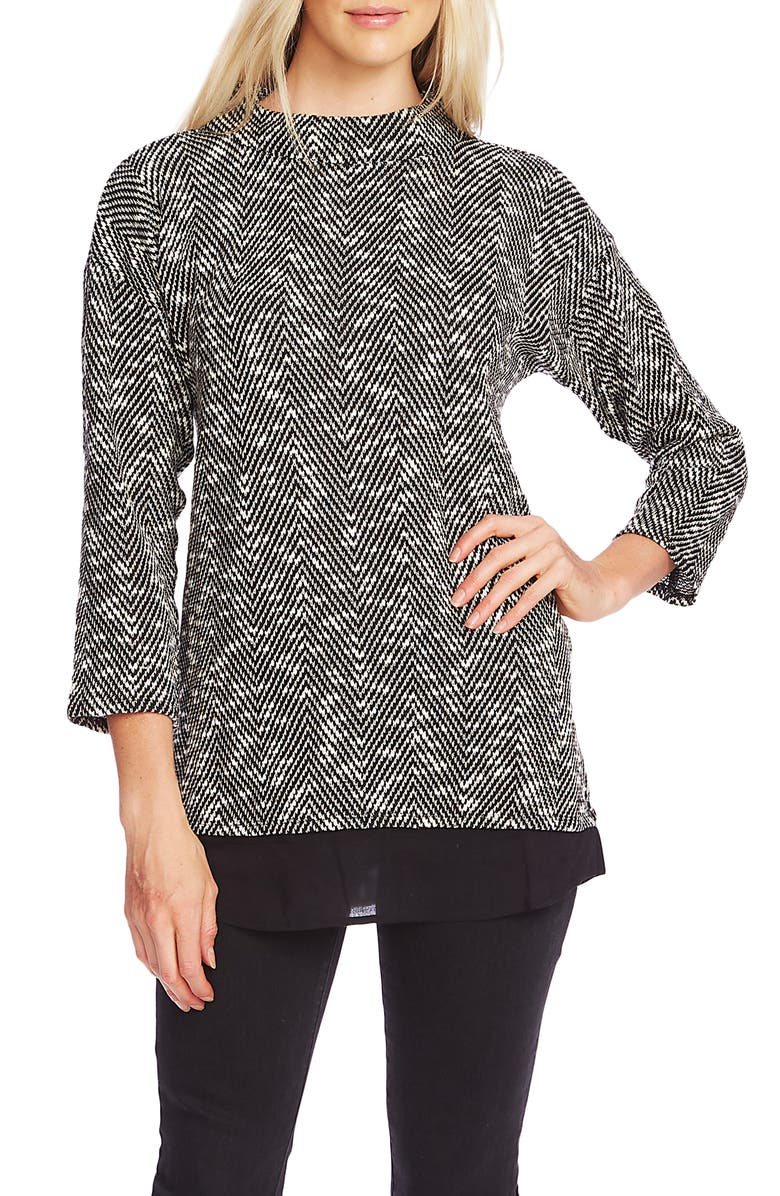 Herringbone Mock Neck Bouclé Top by Vince Camuto