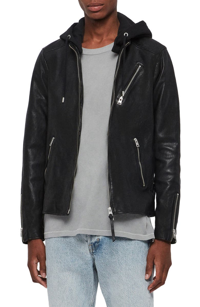 ALLSAINTS Harwood Hooded Leather Jacket, Main, color, BLACK