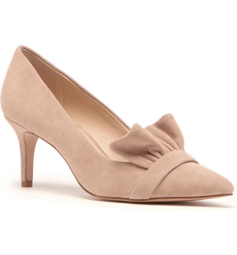 SOLE SOCIETY Darbia Ruffle Pointy Toe Pump, Main, color, LIGHT WALNUT SUEDE