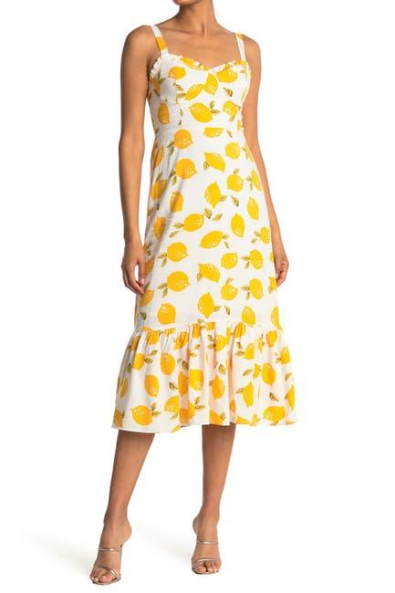 Image of MELLODAY Lemon Print Sleeveless Midi Dress
