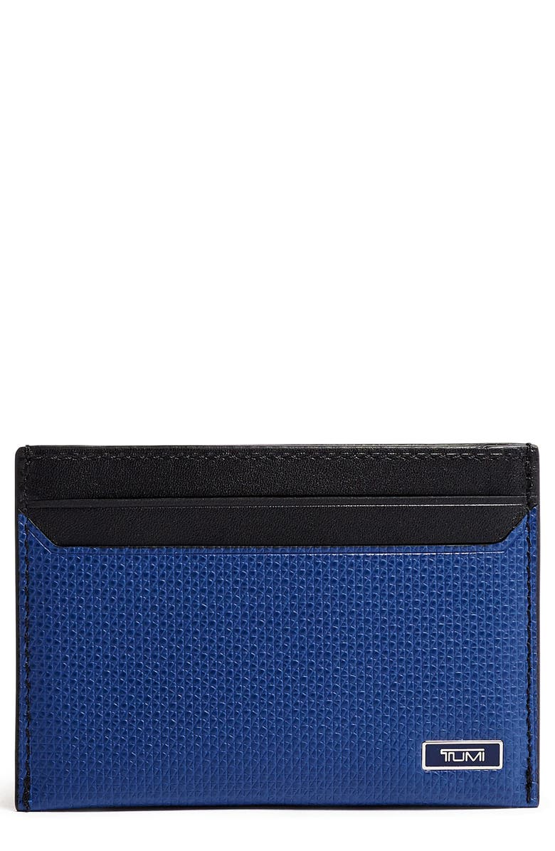 TUMI Monaco Slim Leather Card Case, Main, color, NAVY
