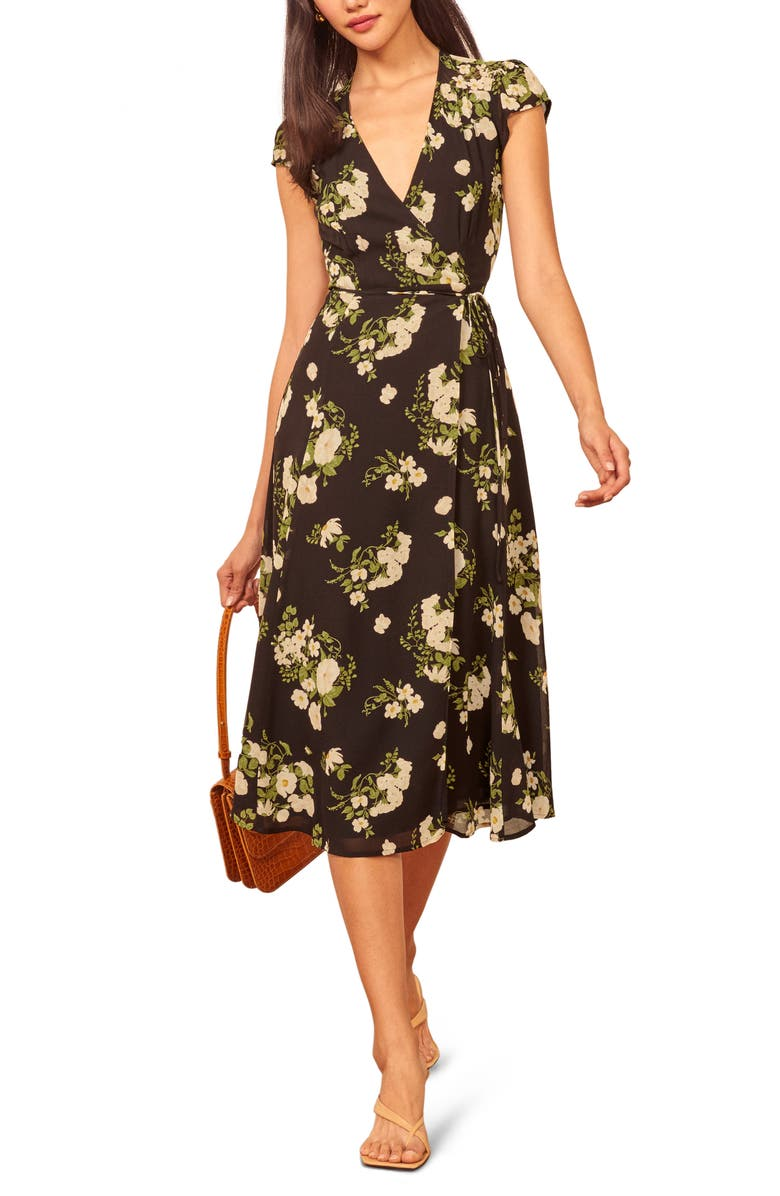 REFORMATION Carina Midi Wrap Dress, Main, color, CELESTE