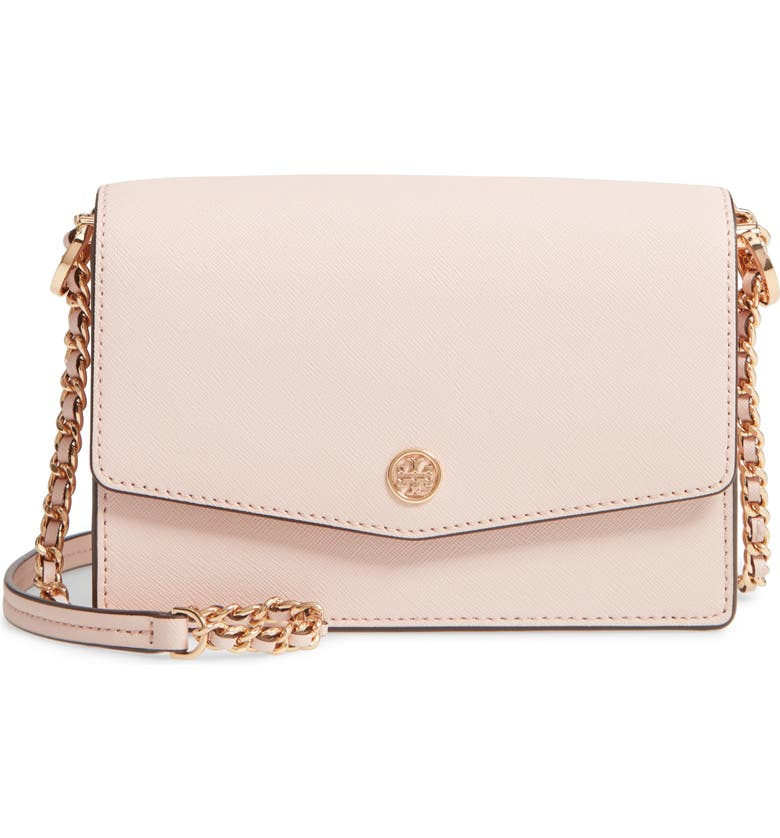 TORY BURCH Mini Robinson Leather Shoulder Bag, Main, color, SHELL PINK