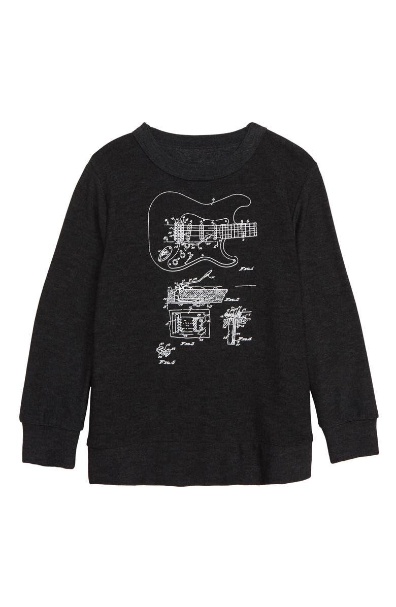 CHASER Guitar Sketch Fleece Sweatshirt, Main, color, 001