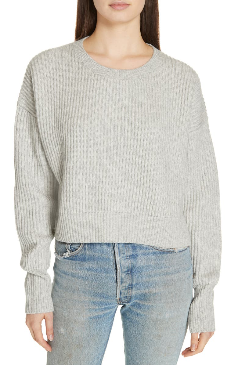 RE/DONE Wool & Cashmere Crop Sweater, Main, color, HEATHER GREY