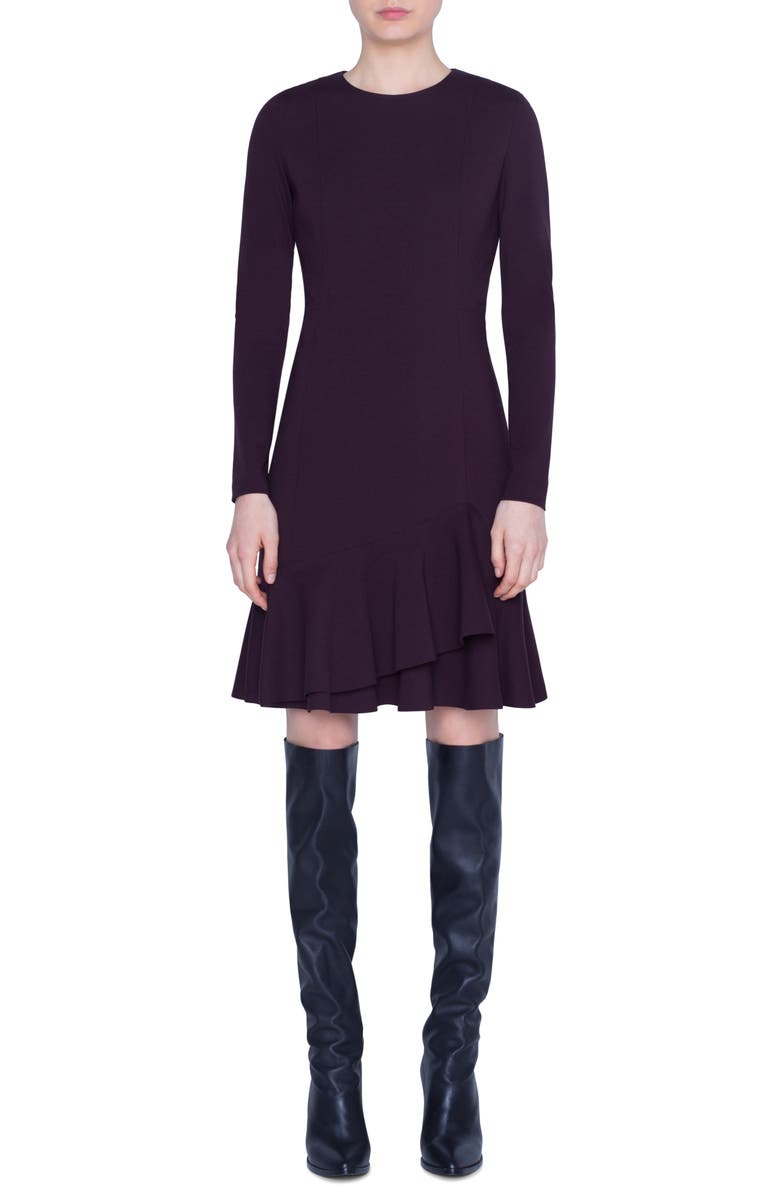 AKRIS PUNTO Volant Hem Long Sleeve Jersey Dress, Main, color, BURGUNDY