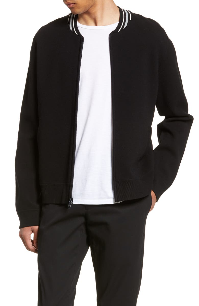 VINCE Regular Fit Varsity Jacket, Main, color, BLACK