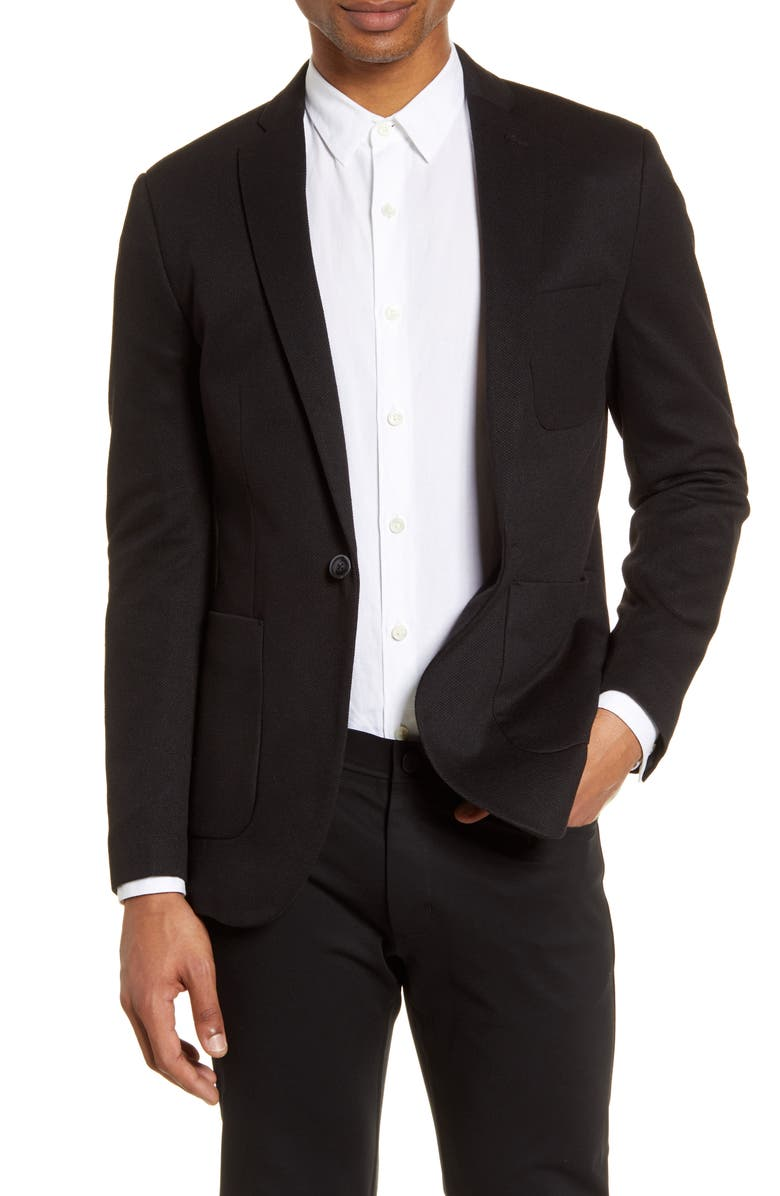 TOPMAN Classic Fit Jersey Blazer, Main, color, BLACK