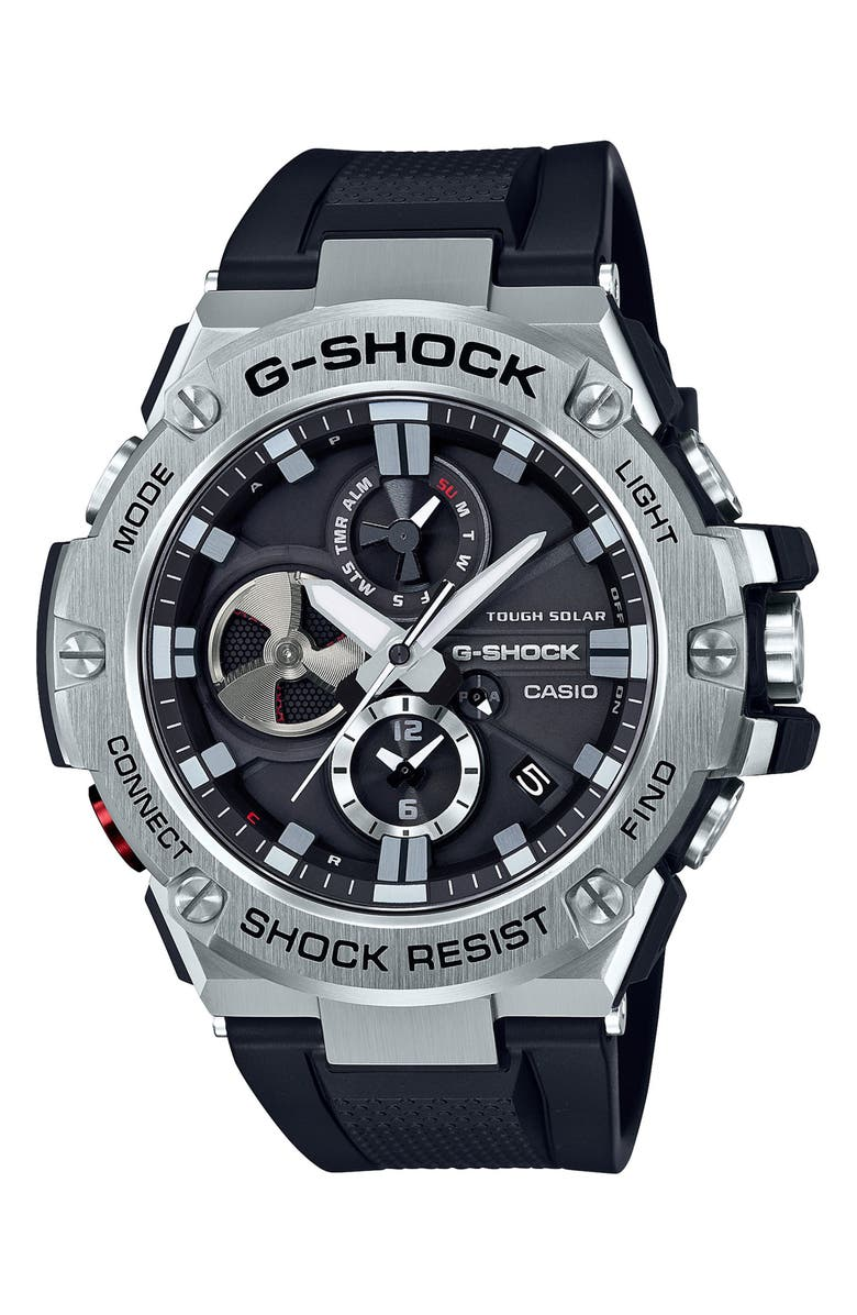 G-SHOCK BABY-G G-Steel Chronograph Watch, 53.8mm, Main, color, BLACK/ SILVER