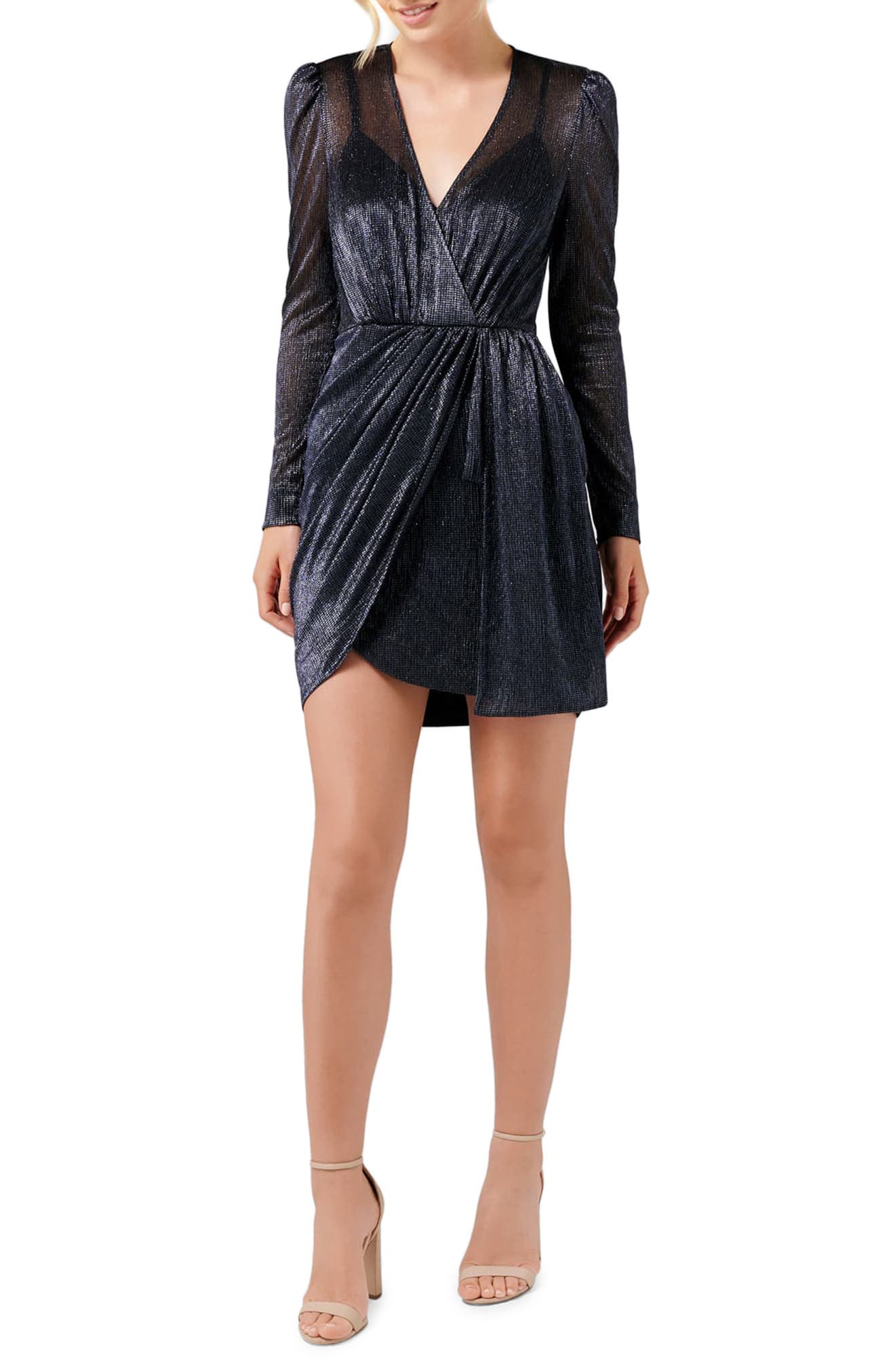 Ever New Alexia Long Sleeve Metallic Cocktail Dress