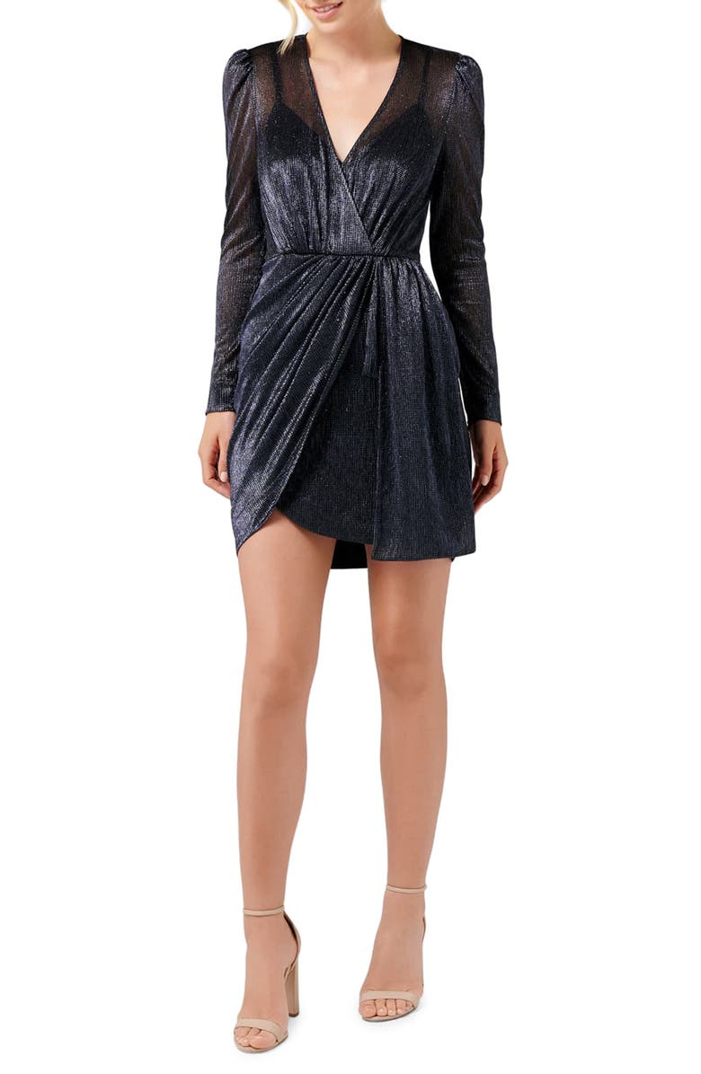 EVER NEW Alexia Long Sleeve Metallic Cocktail Dress, Main, color, 410