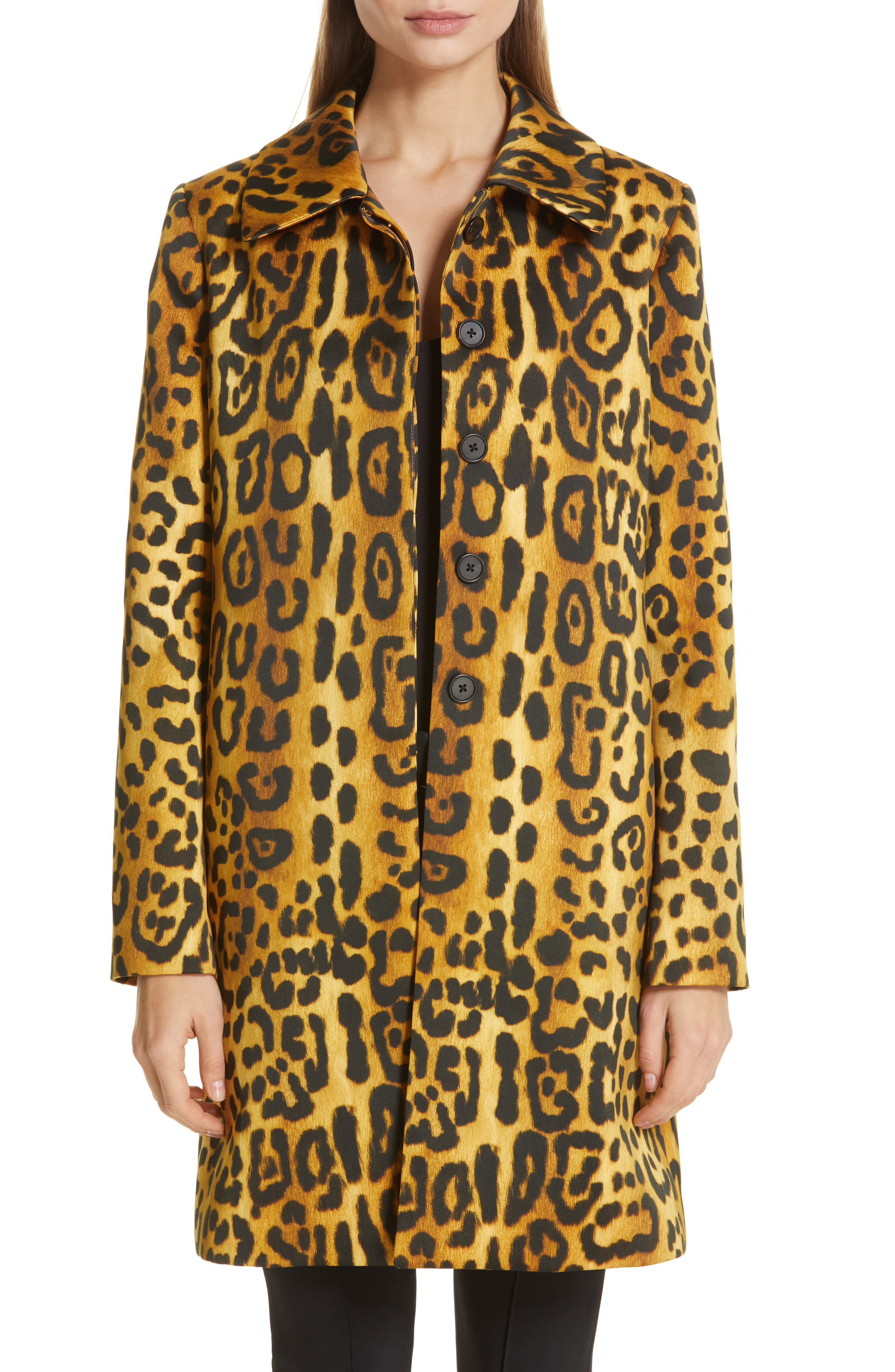 women's adam lippes jaguar print duchesse satin coat, size 4 - brown