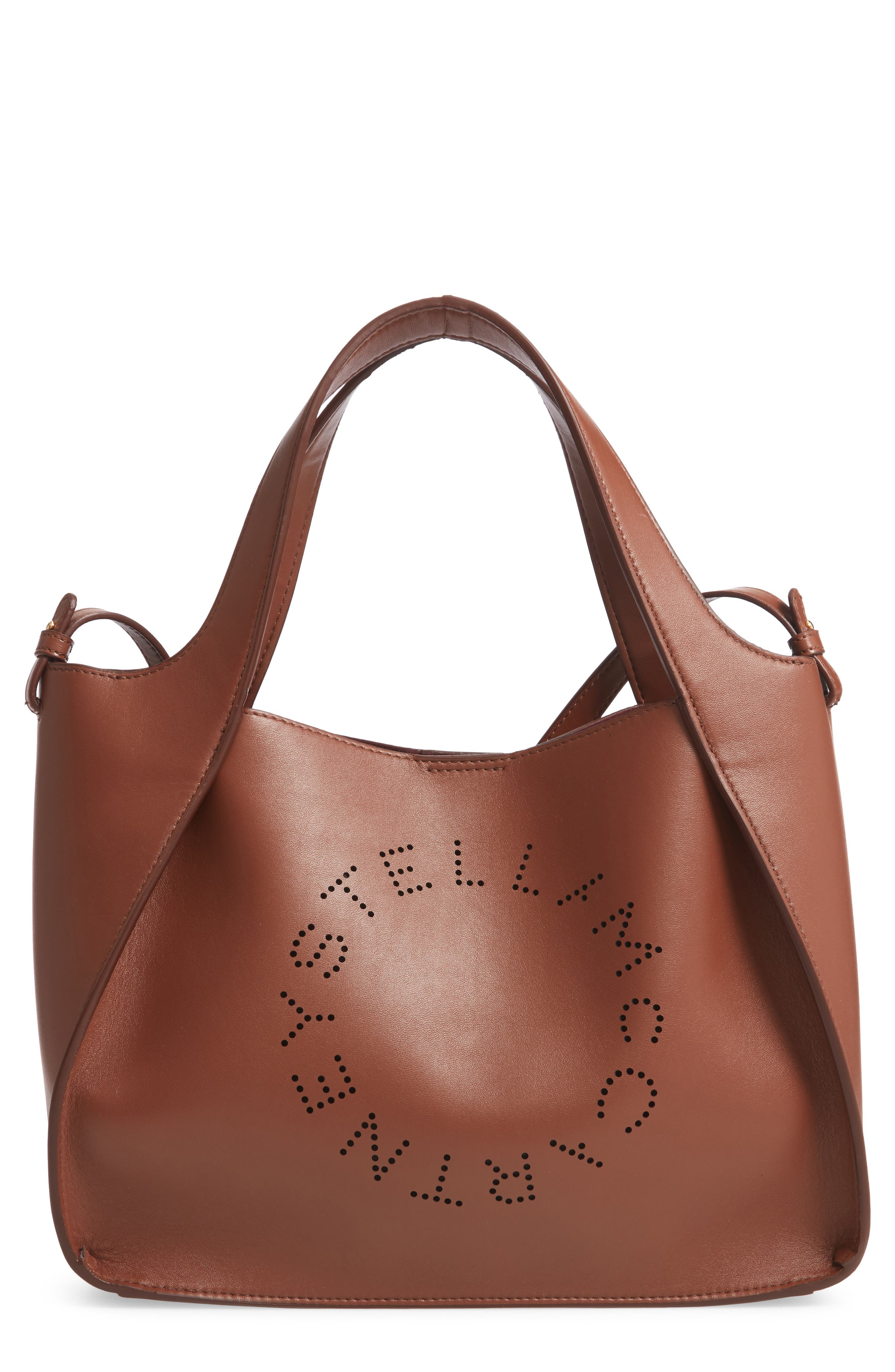 Stella Mccartney Perforated Logo Faux Leather Satchel - Brown