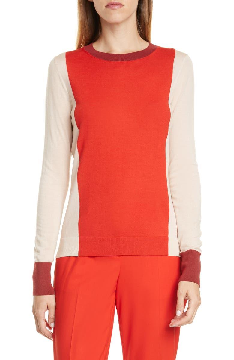 BOSS Fiolena Colorblock Wool Sweater, Main, color, SCARLET FANTASY