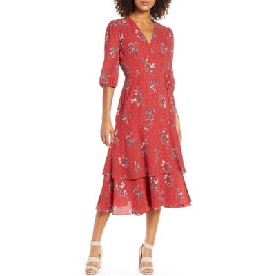 Chelsea28 Floral & Dot Print Tiered Wrap Dress, Red