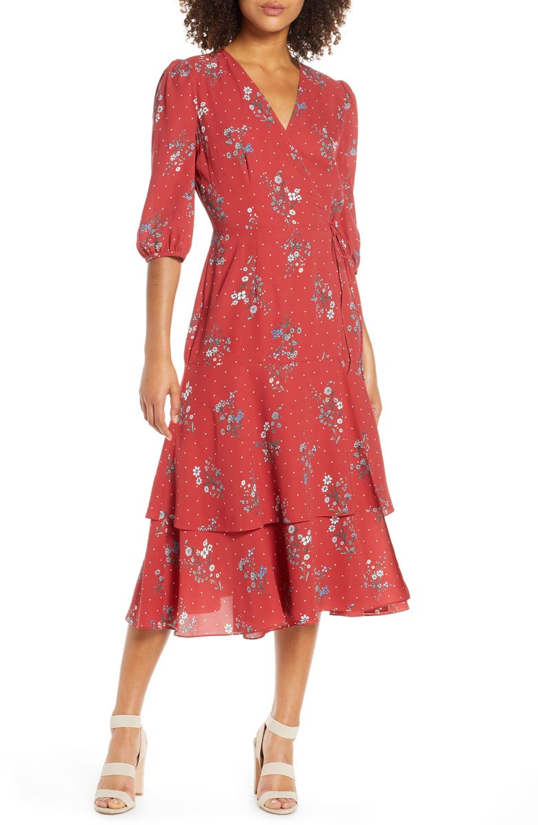 CHELSEA28 Floral & Dot Print Tiered Wrap Dress, Main, color, RUSTY RED FLORAL DOT