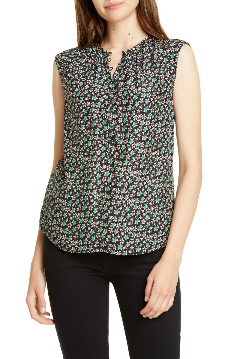REBECCA TAYLOR Louisa Floral Print Sleeveless Top, Main, color, BLACK COMBO